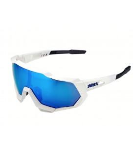 Gafas 100% Speedtrap blanco mate lentes azul espejadas