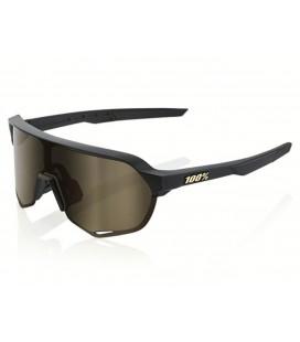 Gafas 100% S2 negro mate lente dorado